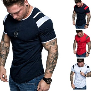 2020 summer fitness men's sports T-shirt round neck contrast T-shirt PY-ND010