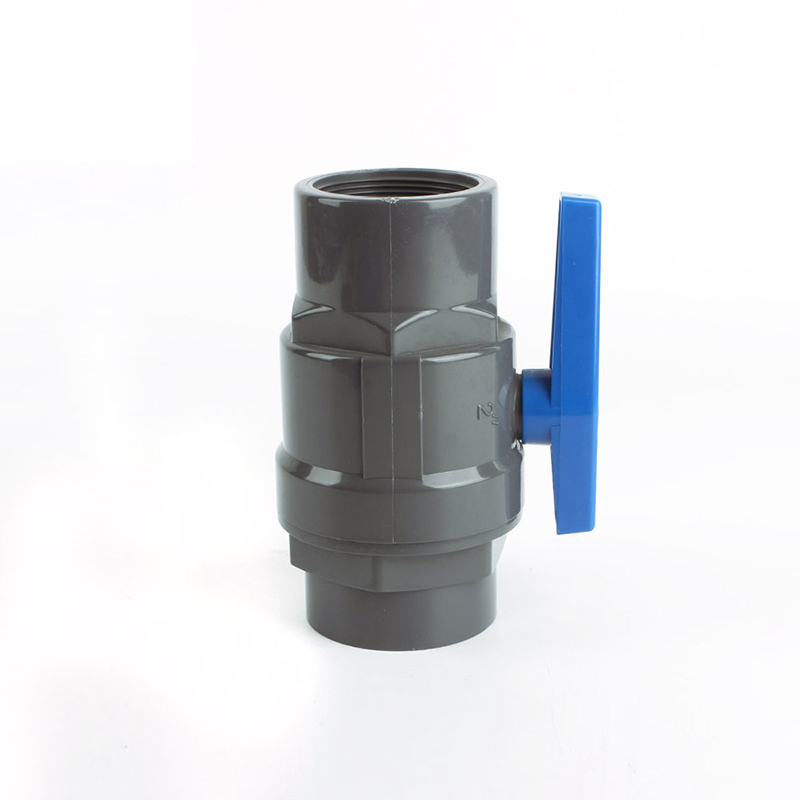 PVC two pieces ball valve with blue plastic handle