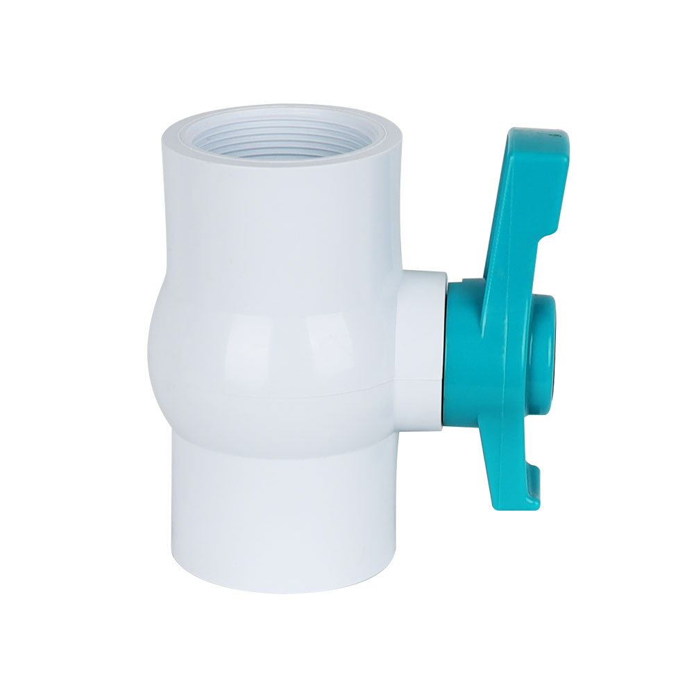 PVC compact ball valve white body blue handle