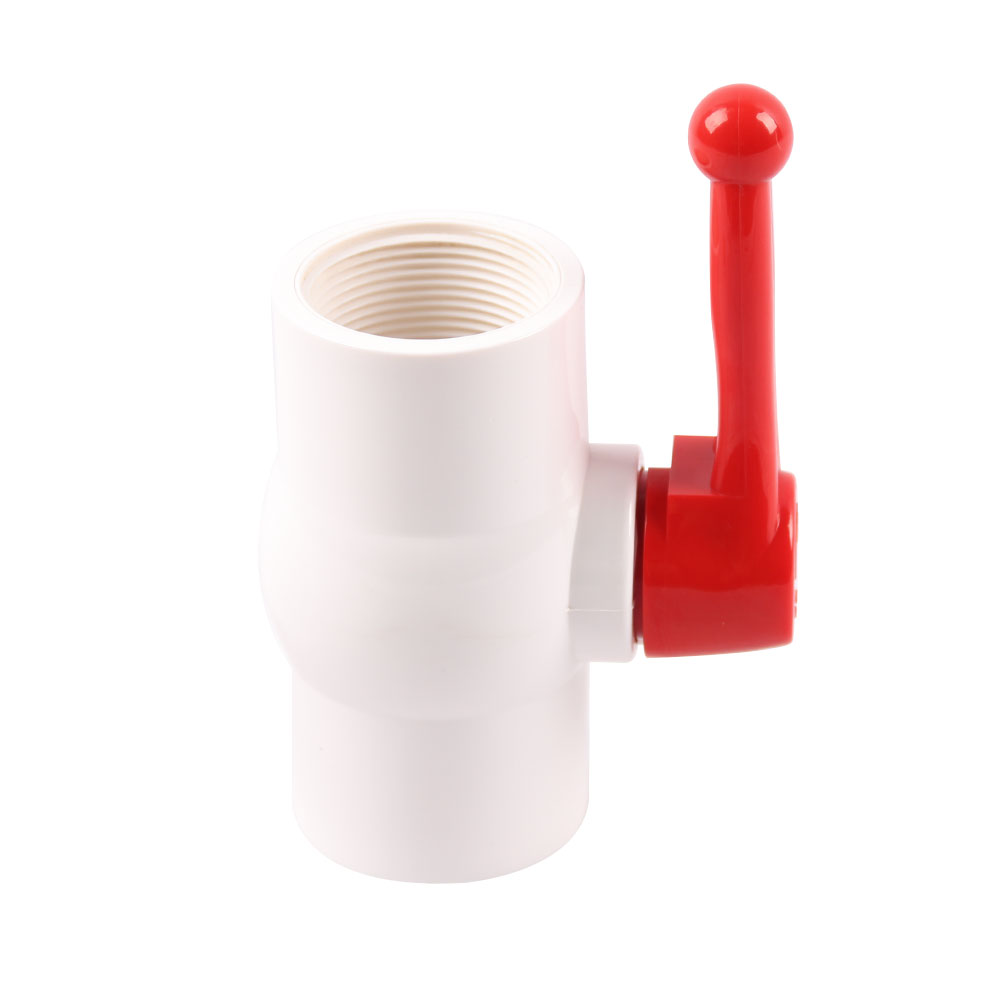PVC ball valve white body red long handle