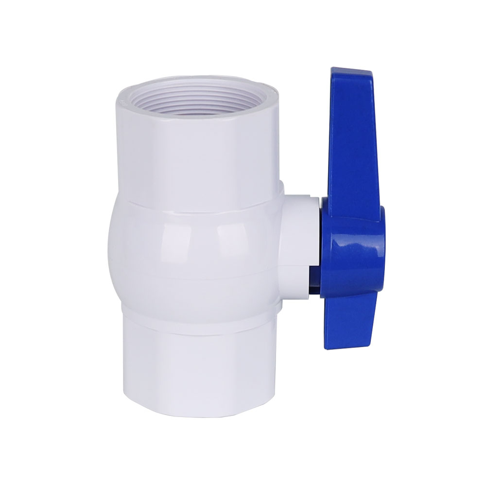 PVC octagonal ball valve white body blue long handle