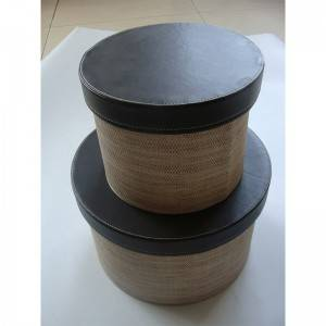 Round Shape Pu Leather Home Storage Box