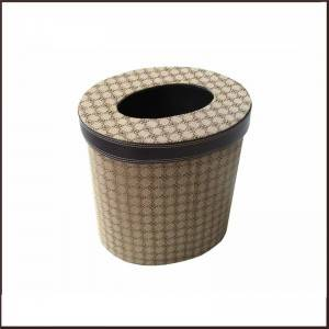 Leather Rectangle Tissue Box - Round Shape Waste Bin Basket With Cover – King Lion