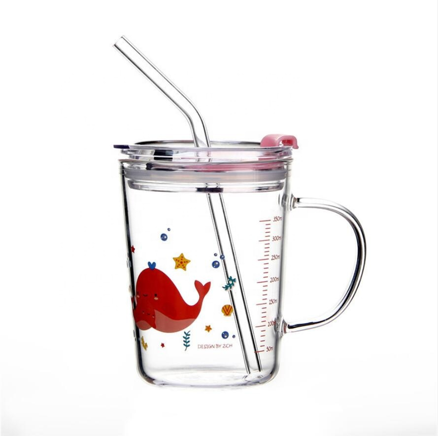 Cartoon Kid Children Glass Cups Clear Measuring Glass Milk Cups with Scale and Lid Glass Water Bottle Beer Coffee Mugs