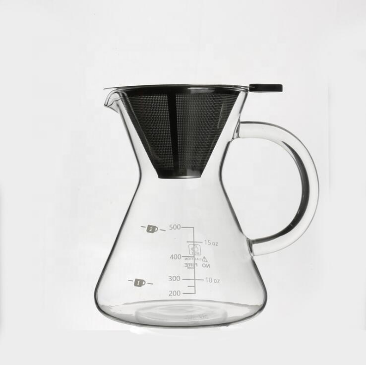 500ml pyrex glass coffee pot with stainless steel infuser