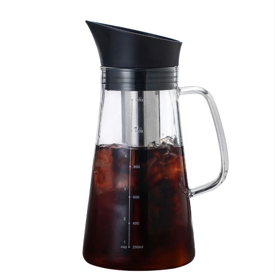High borosilicate glass heat-resistant coffee maker High capacity glass carafe 1.0L coffee cold brew maker bottle china