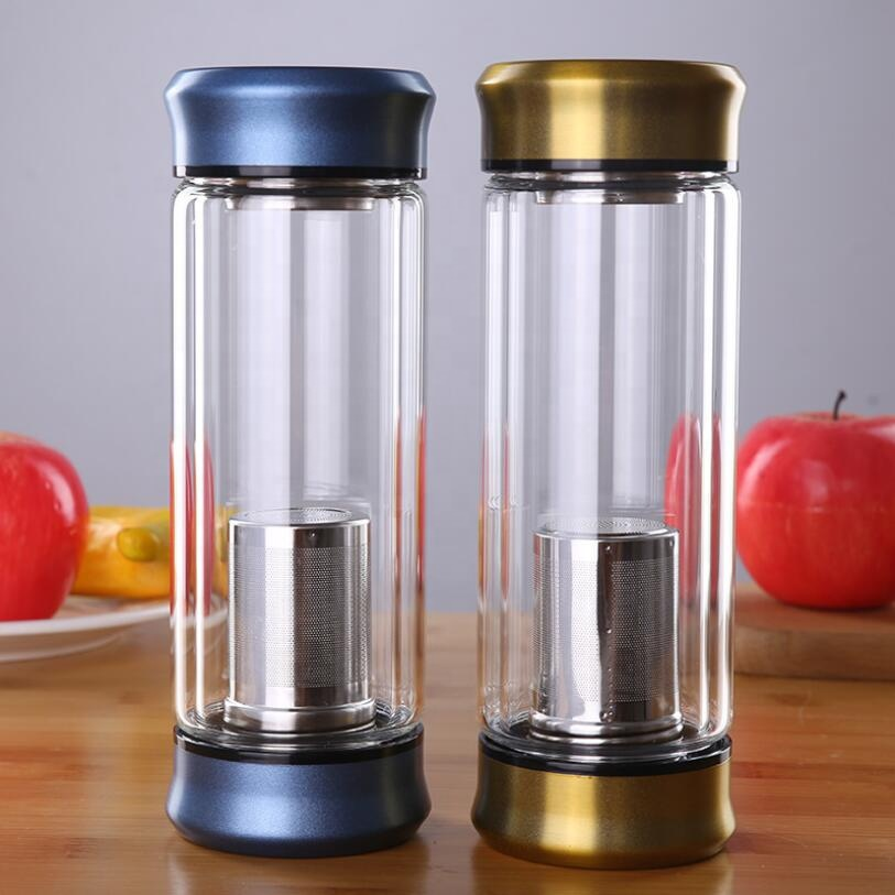 Custom Printed ECO Friendly Fashion 300ml Borosilicate Clear Cylinder Double Wall Glass Bottles For Water Drinking