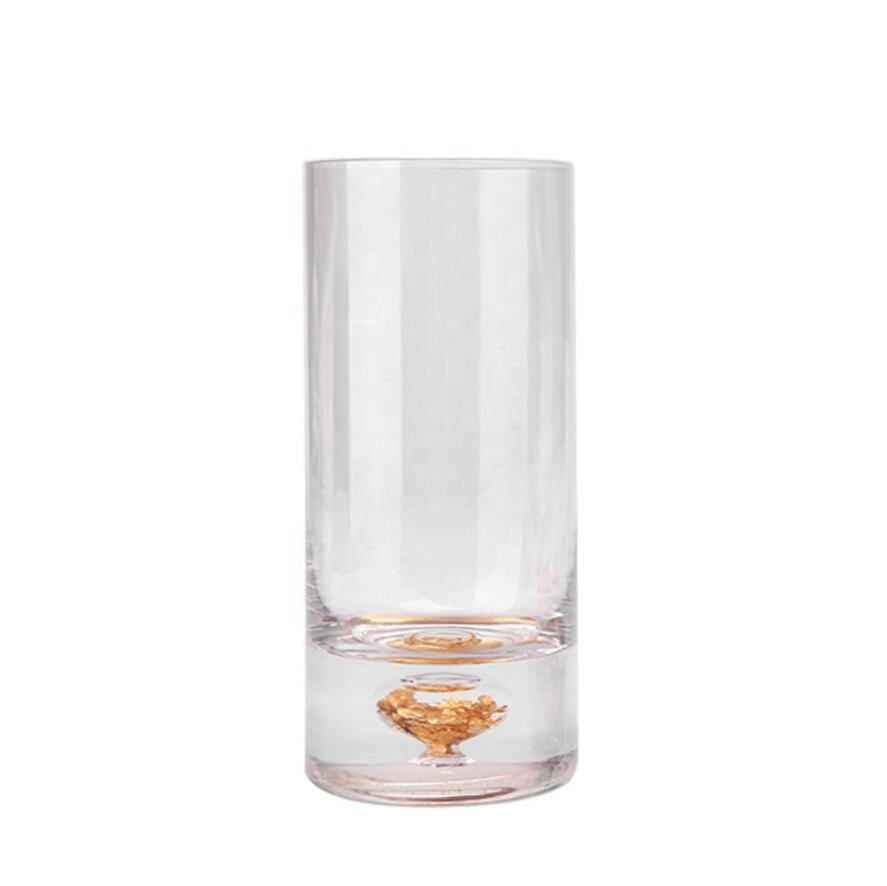 Welcome Customize Logo Lounge Bar Glass Shot Cup with Gold Snowflakes
