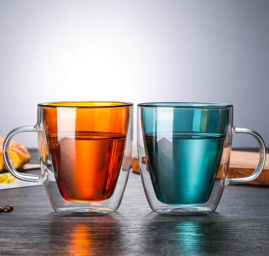 Manufacturer Low Price 450ml High Borosilicate Amber Blue Color Double Wall Glass Coffee Drink Cup With Handle