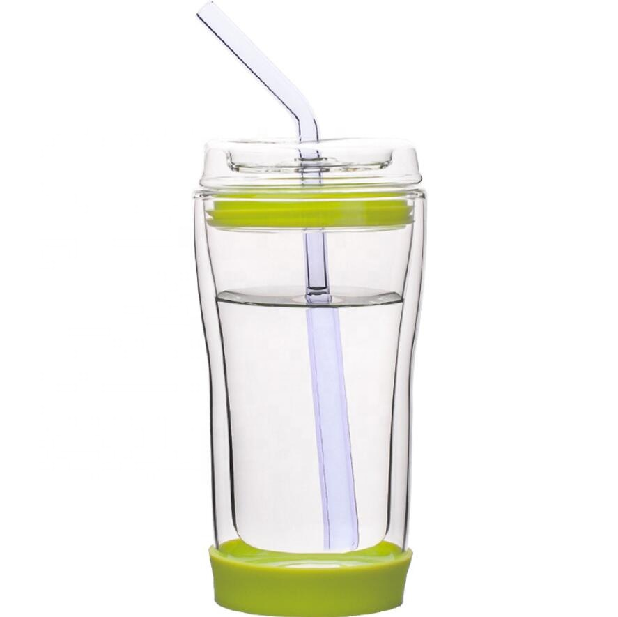Wholesale Custom Logo 10oz Handmade Clear Double Layer Borosilicate Glass Cup with Glass Straw