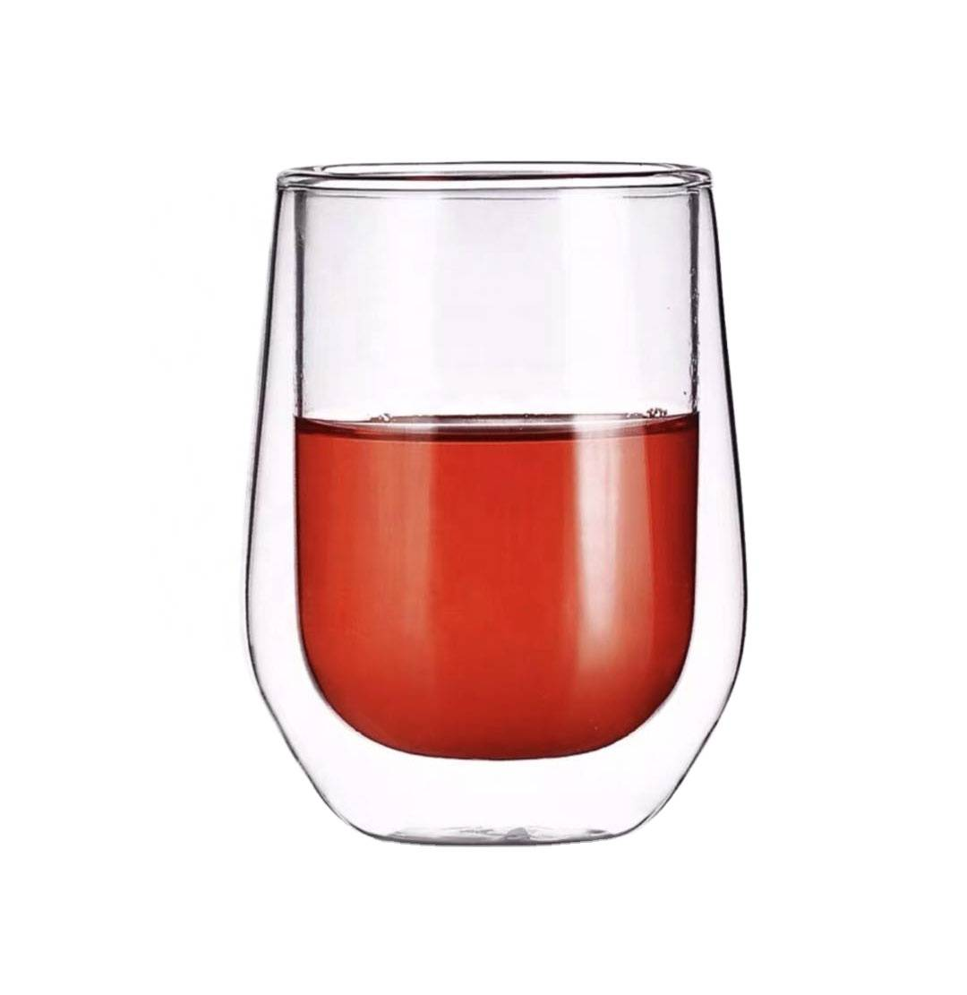 Hot sales FDA clear glass double wall glass tea coffee cup