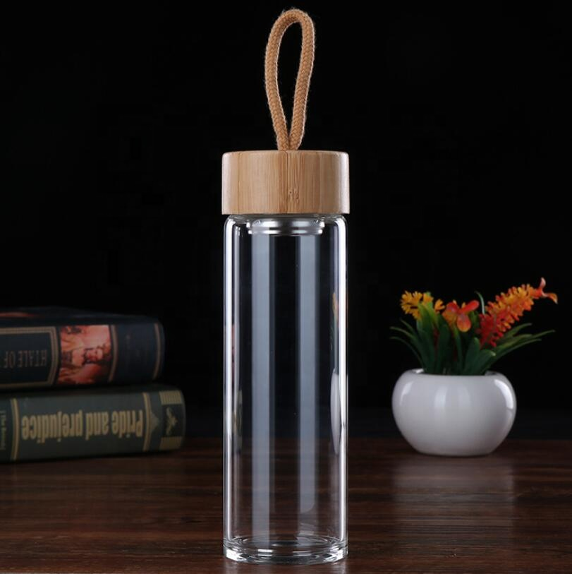 Wholesale Promotion 16oz Custom Logo Glass Fruit Tea Infuser Water Bottle BPA Free With Bamboo Lid and Rope