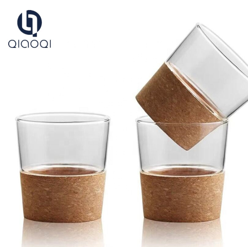 factory Outlets for Green Glass Cups - high borosilicate handmade  coffee tea cup with  wooden base – Qiaoqi