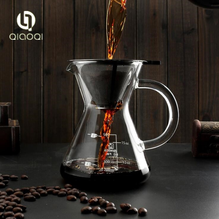 High quality handmade personalized glass coffee pot with filter
