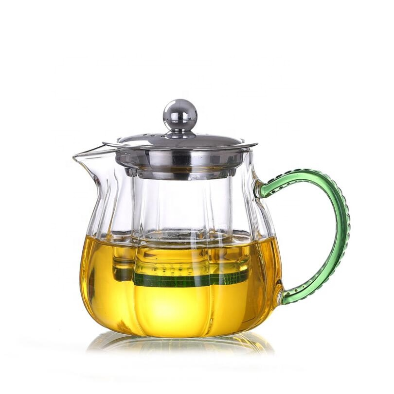 Best-Selling Glass Teapot And Cup Set - Hot selling Heat-resistant glass clear pumpkin shape tea maker with infuser – Qiaoqi