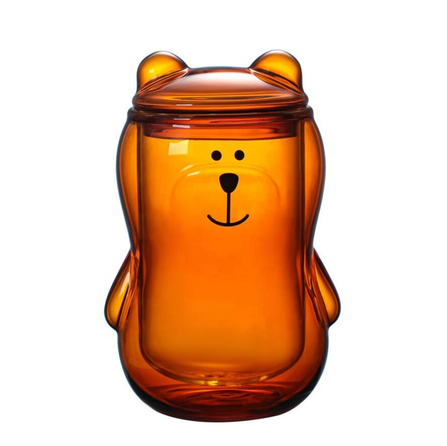 Wholesale customized logo large 300ml amber bear borosilicate insulated double wall glass coffee tea cups mugs without handle