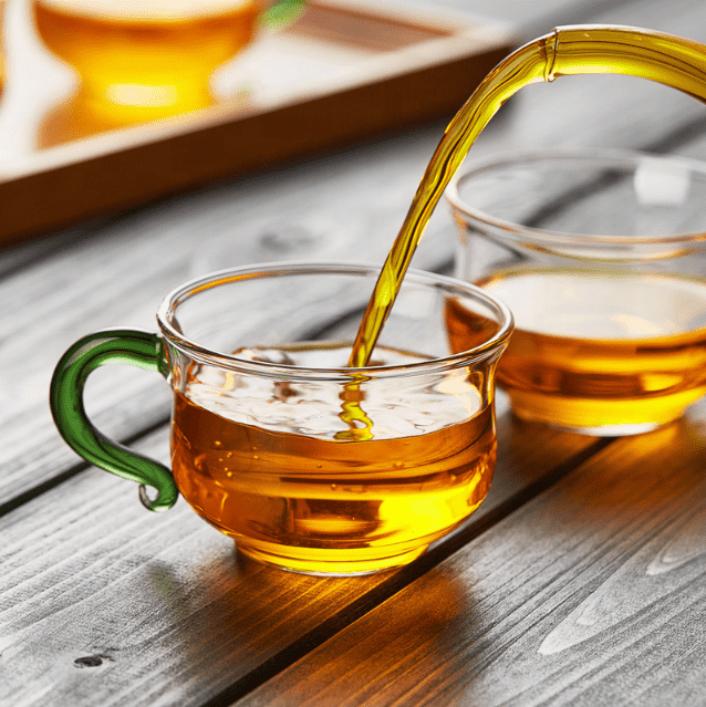 Factory Direct Sales Borosilicate Small Glass Tea Cup with GreenHandle