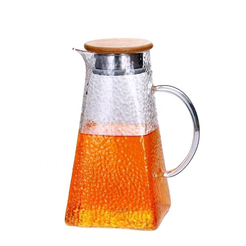Hot sales new style cold drinking water glass pot heat-resistant glass transparent SS cover tea pot