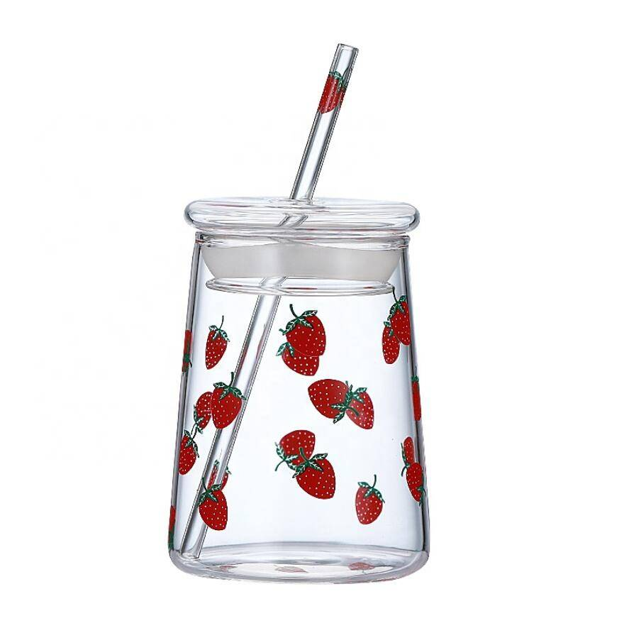 Wholesale High Borosilicate Cup with Straw Custom Logo Glass Coffee Cup with Lid