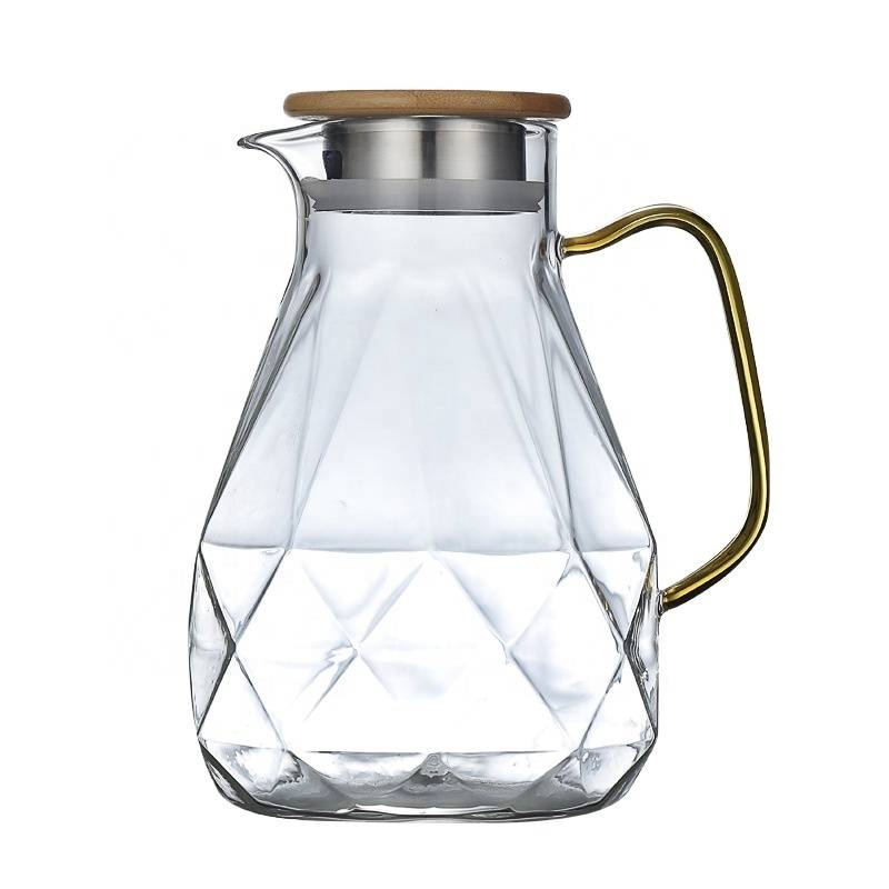 Wholesale 2020 new style High Quality Clear Drinking Water Pot Diamond Shaped  Glass Water Jug With Cups