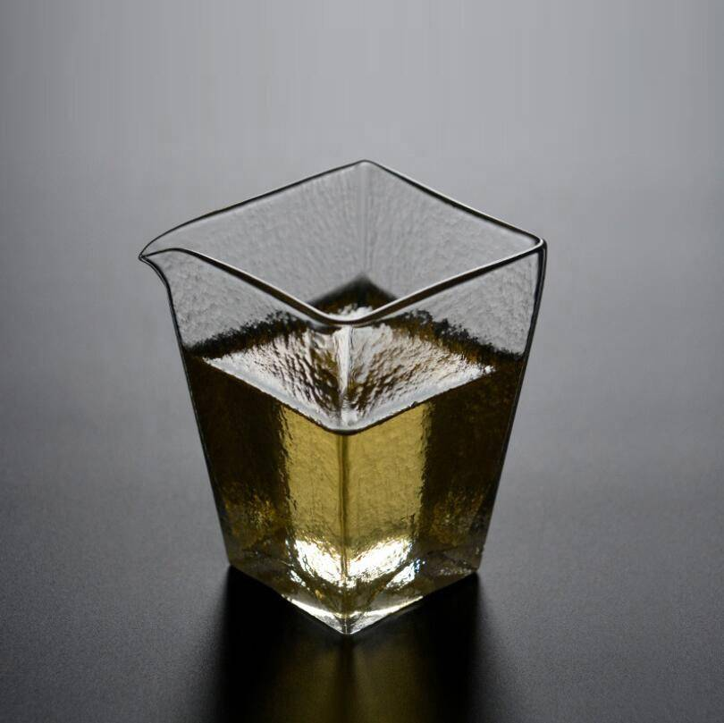 180ml high borosilicate square shape clear glass tea cups