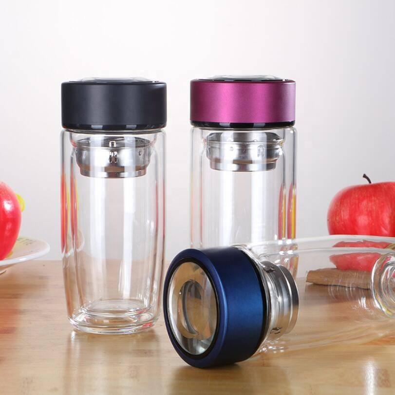 Custom Portable Fashion Egg Shape Double Wall Glass Drinking Water Bottle Cup Printing 280ml