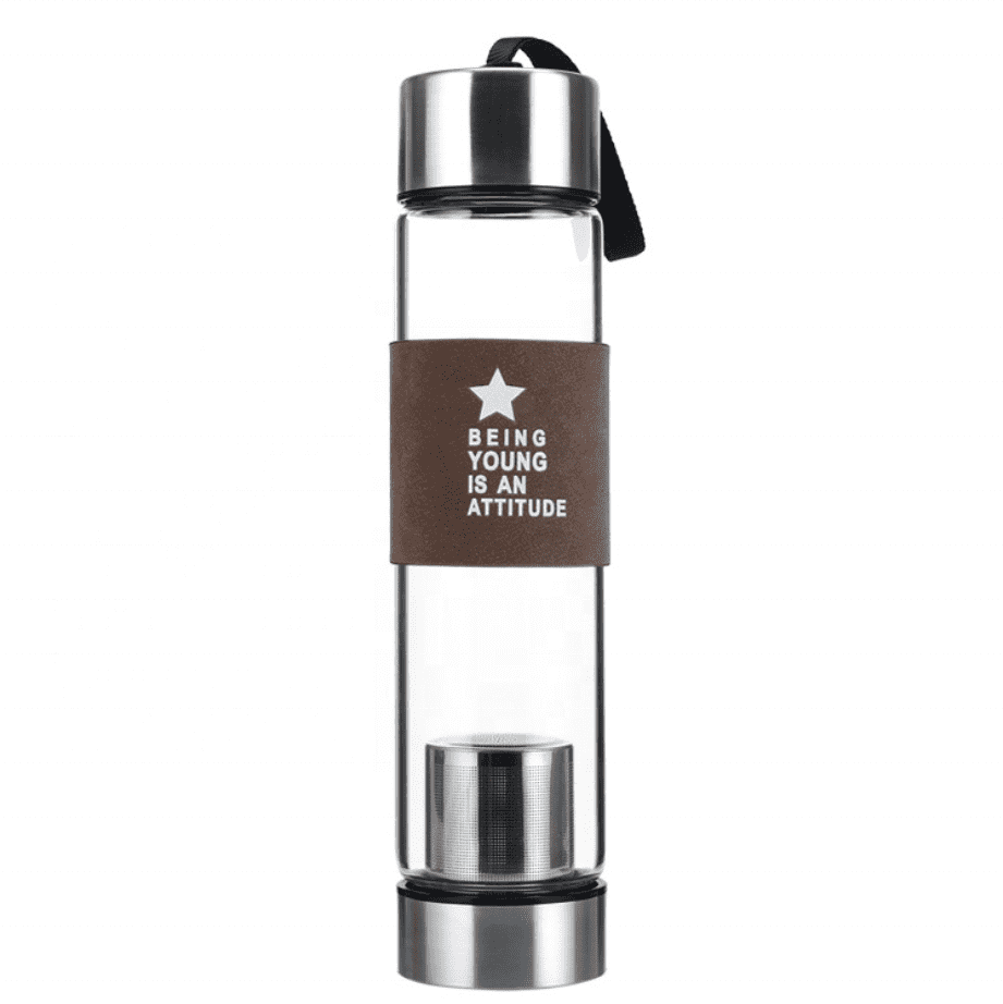 Manufacturer Luxury Travel Tea Infuser Crystal Glass Water Bottle With Custom Logo Box