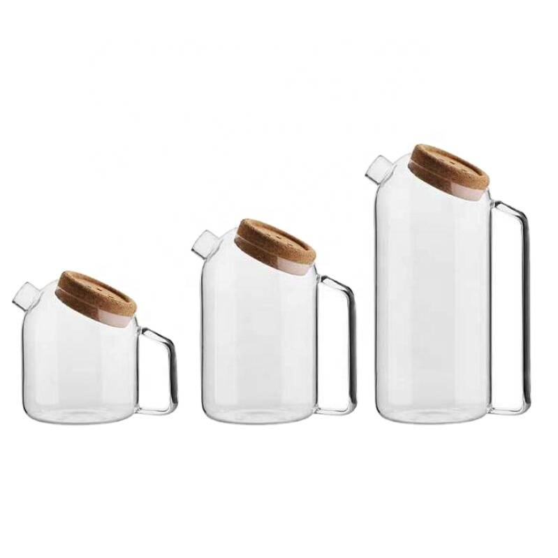 high quality borosilicate glasscold water pot with glass tea pot with cork lid