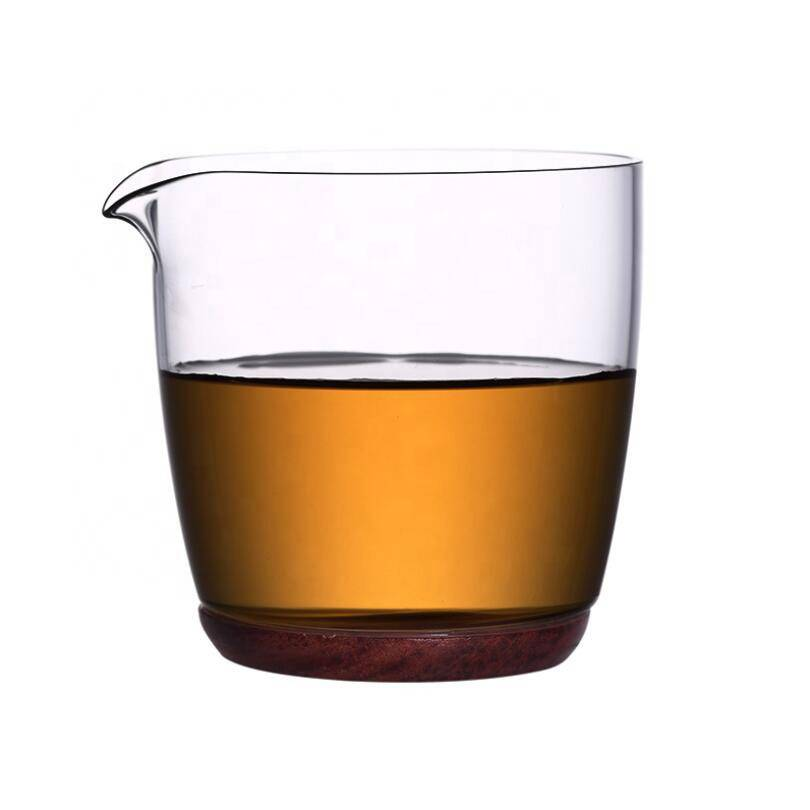 high borosilicate clear glass tea cup with wood base