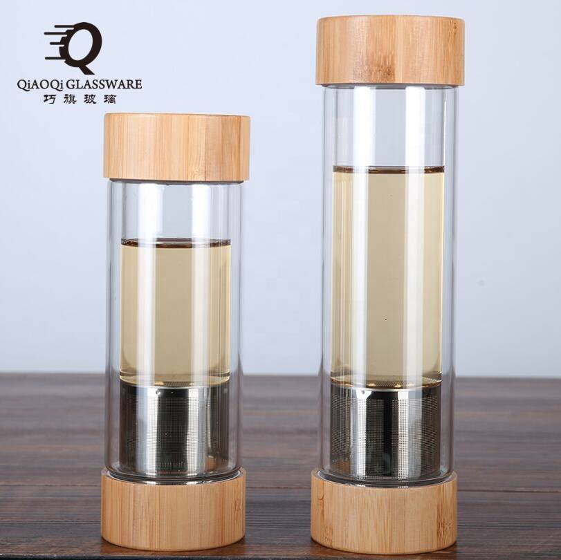 wholesale custom design double wall glass water cup bamboo lid