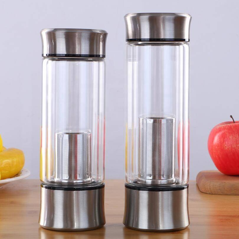 Wholesale Custom Insulated Borosilicate Reusable Double Wall Glass Drinking Water Bottle With Infuser