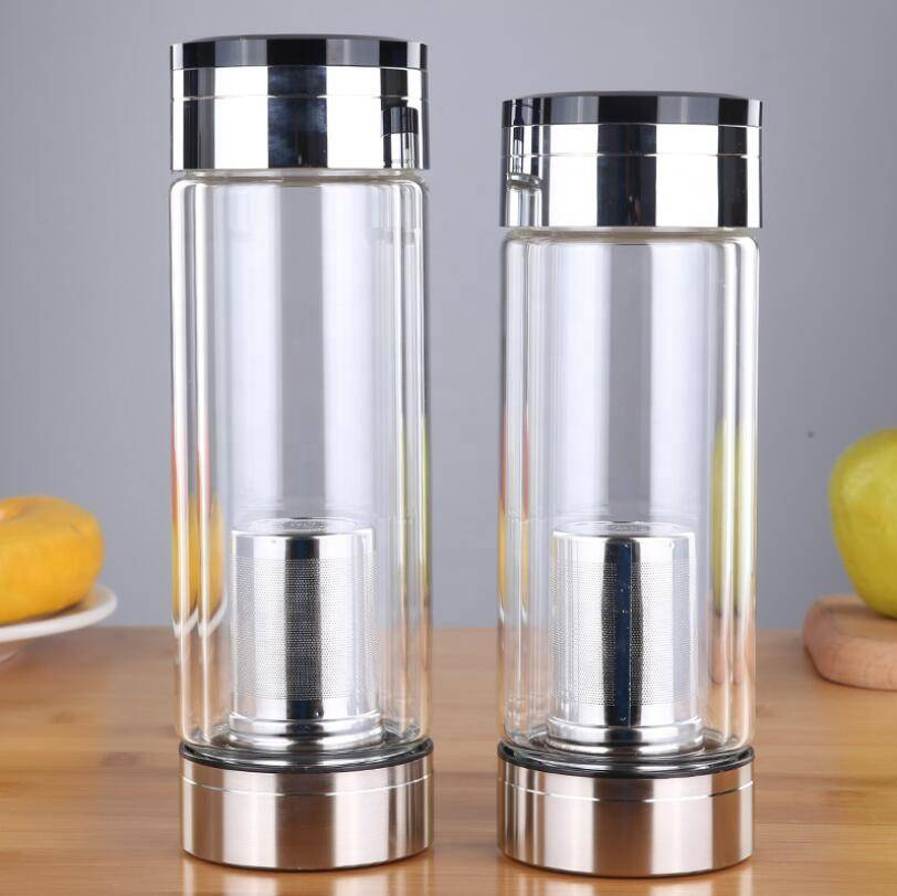 280ml 300ml 400ml Mouthblown High Borosilicate Glass Water Bottles with 304 Stainless Steel Lid