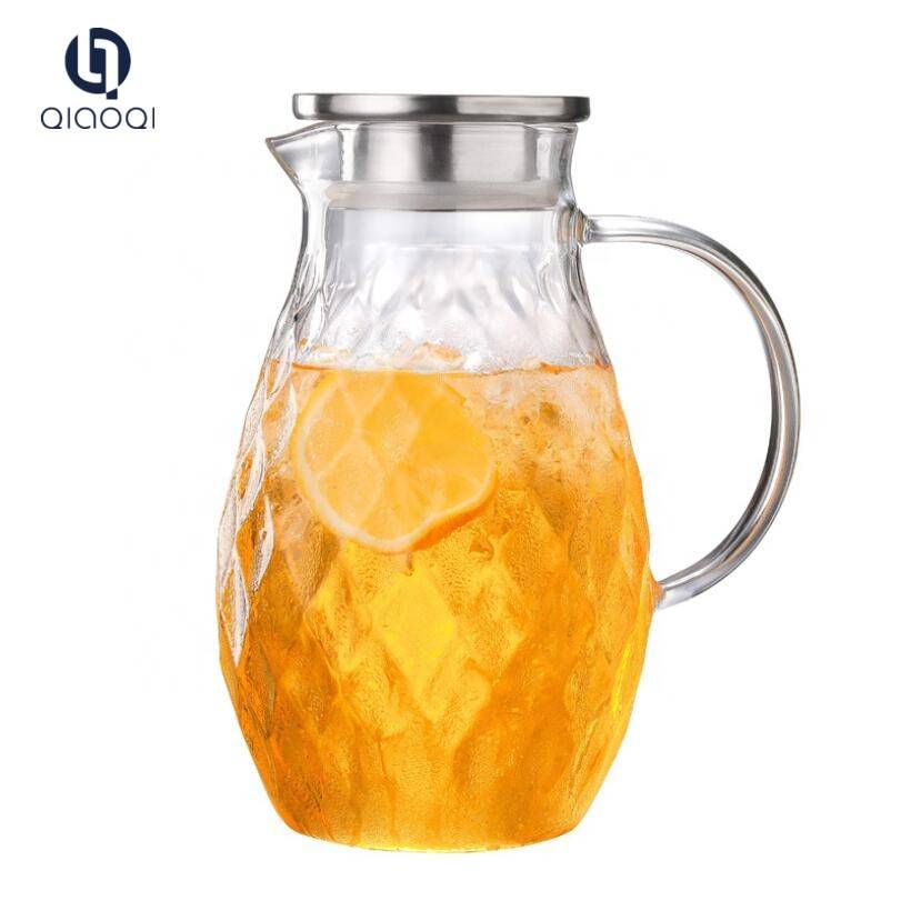 drinking glass cold water kettle with stainless steel lid