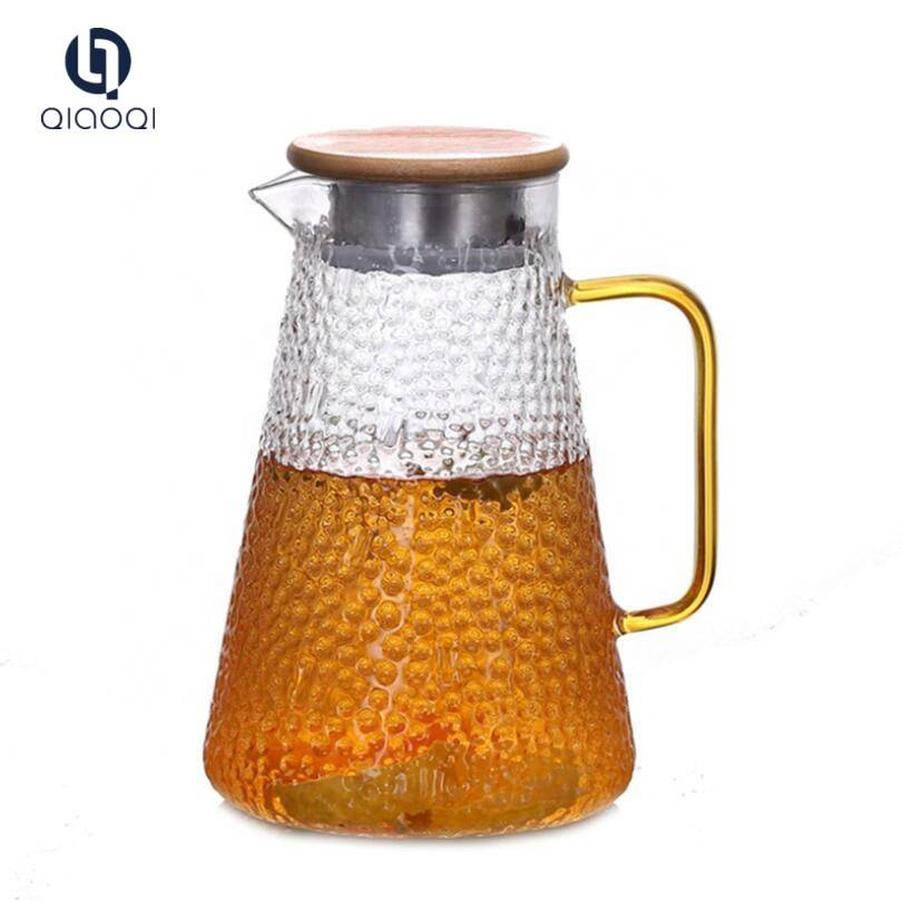 High Quality Clear Borosilicate Glass Water Jug Cold Brew Tea Fruit Pot glass teapot cold water kettle with bamboo lid