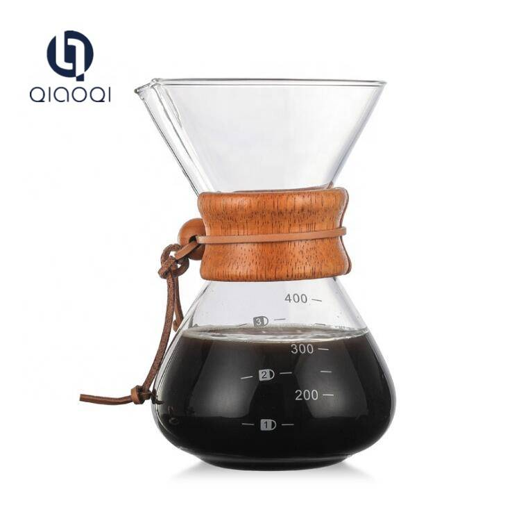 Handmade Glass coffee maker pot with wooden insulation