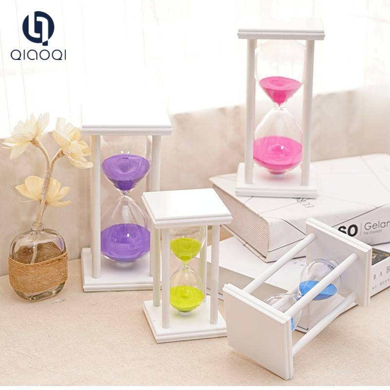 factory wholesale glass sandtimer with square wood frame