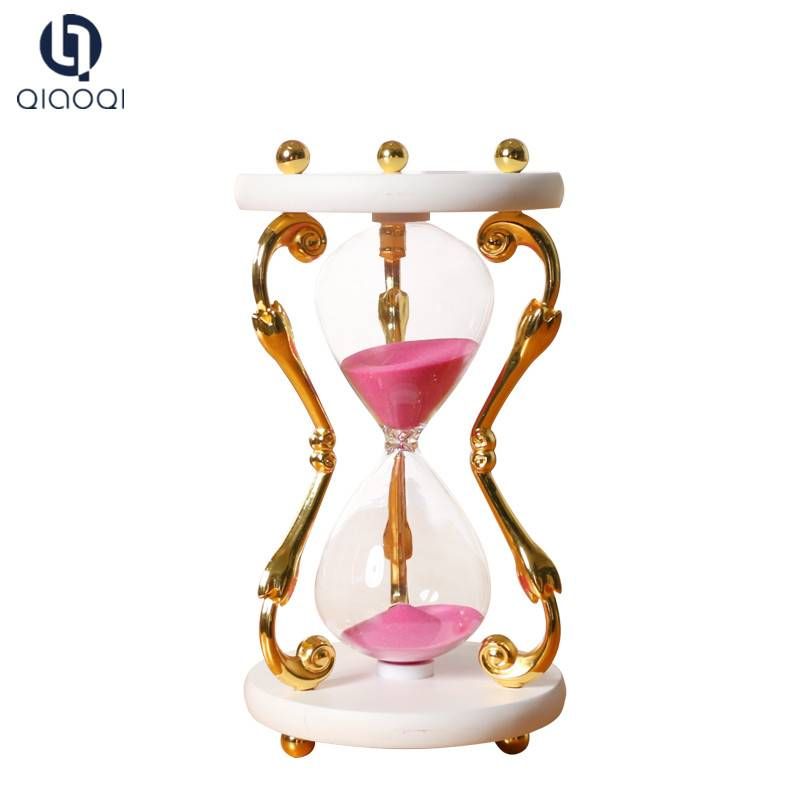 Christmas Decoration 5 Minute Metal Golden Hourglass Sand Timer for Souvenir