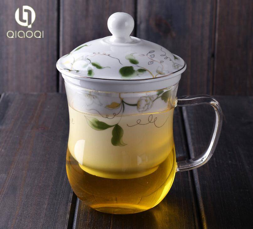 12oz/ 350ml Clear Glass Tea Cup with Infuser and Lid