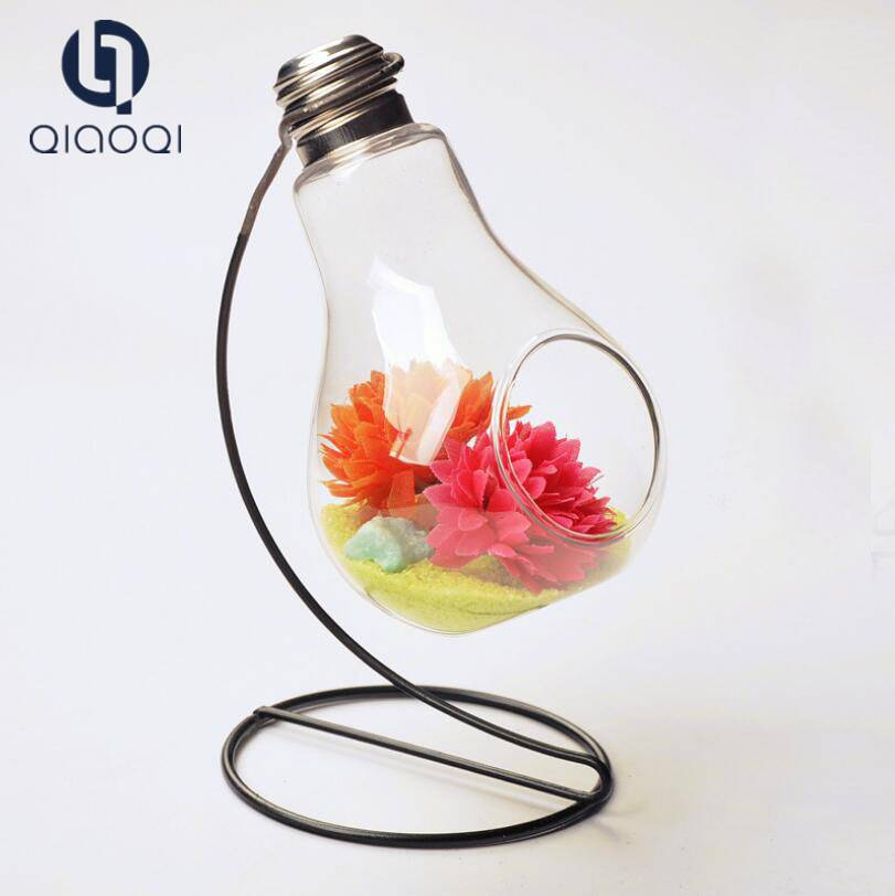 Europe type transparent bulb glass microlandschaft vase