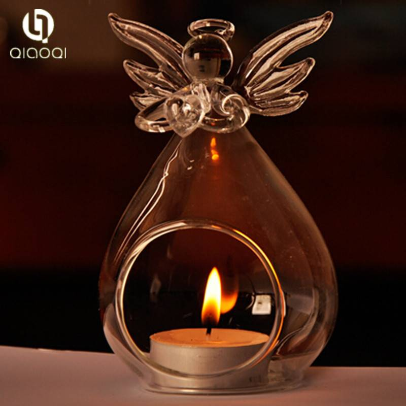 Europe type transparent crystal glass angels candlesticks