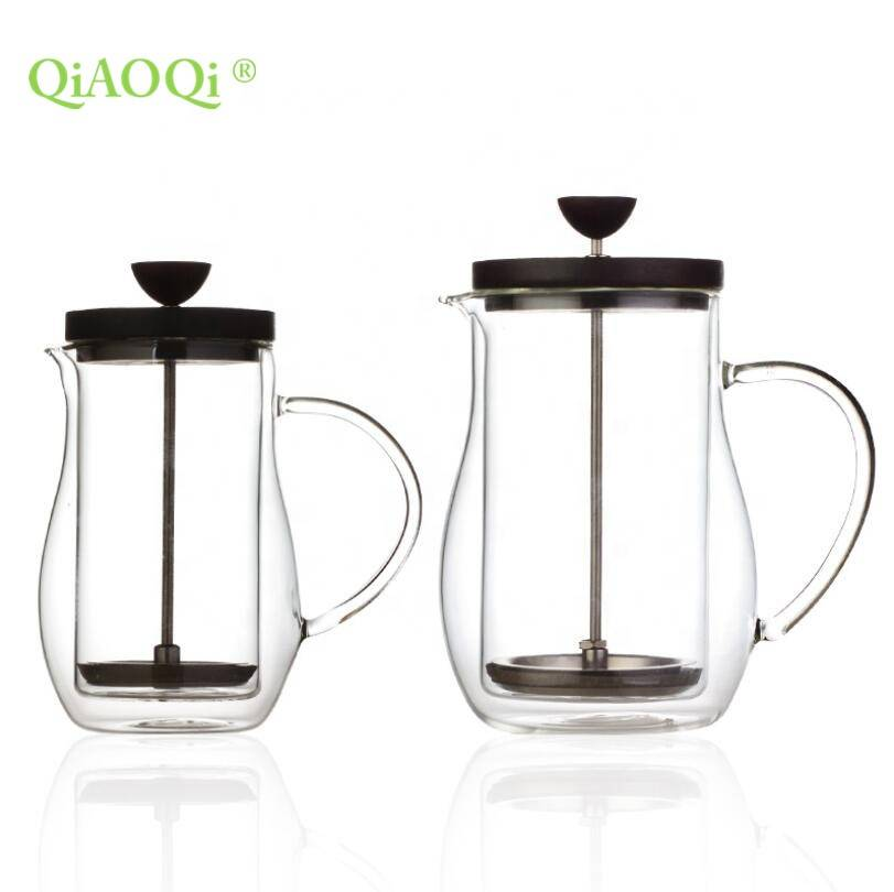 350ml, 600ml Round shape double wall glass french press