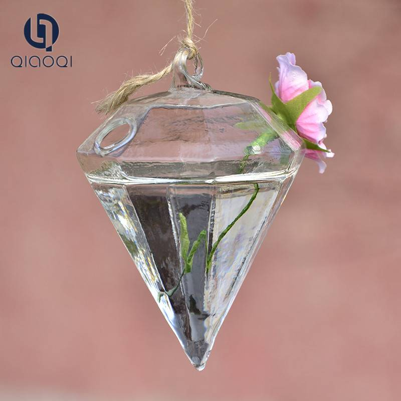 Diamond shape glass vase / Hydroponics vase opening transparent glass hanging