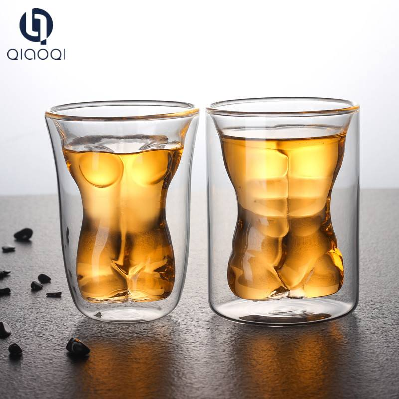 female body Shape Handmade Clear Double Wall Glass Cup