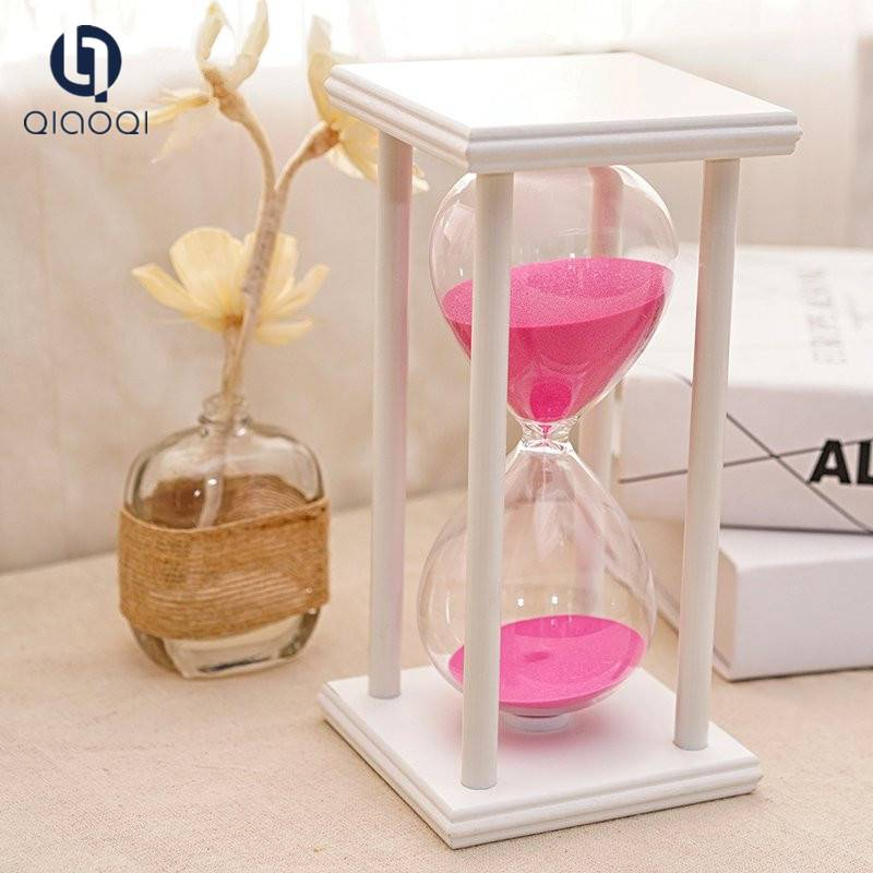 Transparent glass hourglass with plank frame gift