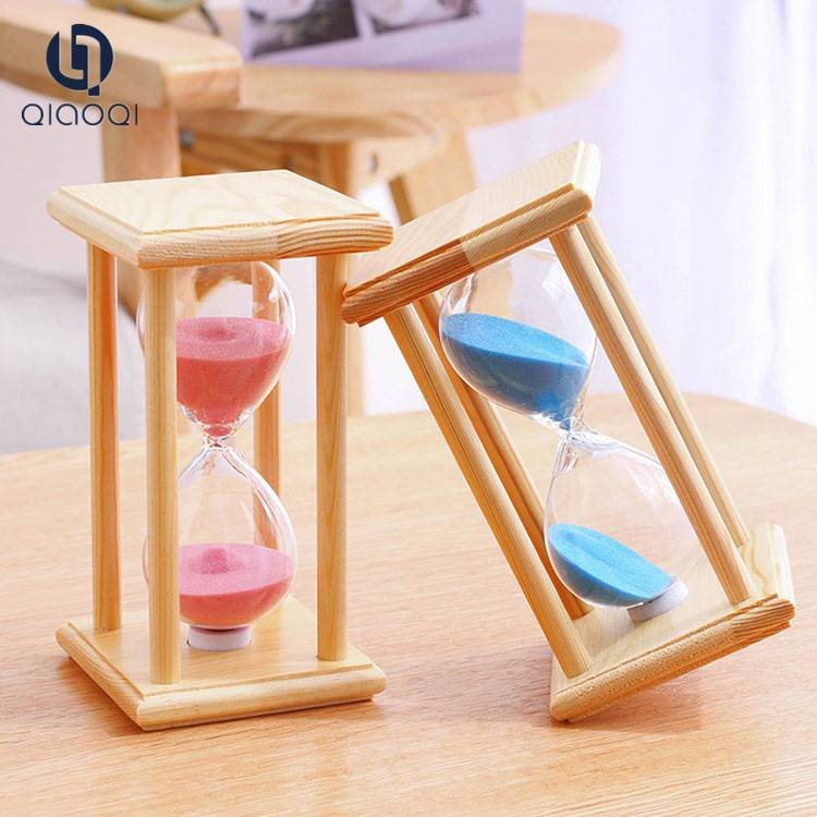 Wooden frame glass hourglass / sand timer hourglass for sale
