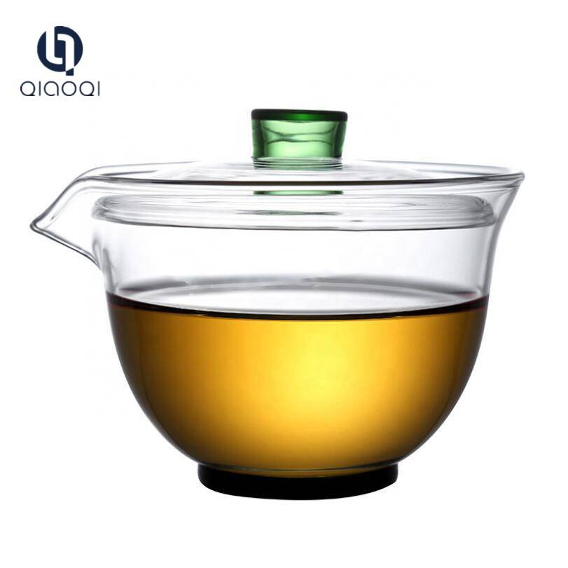 220ml glass tea cup with lid
