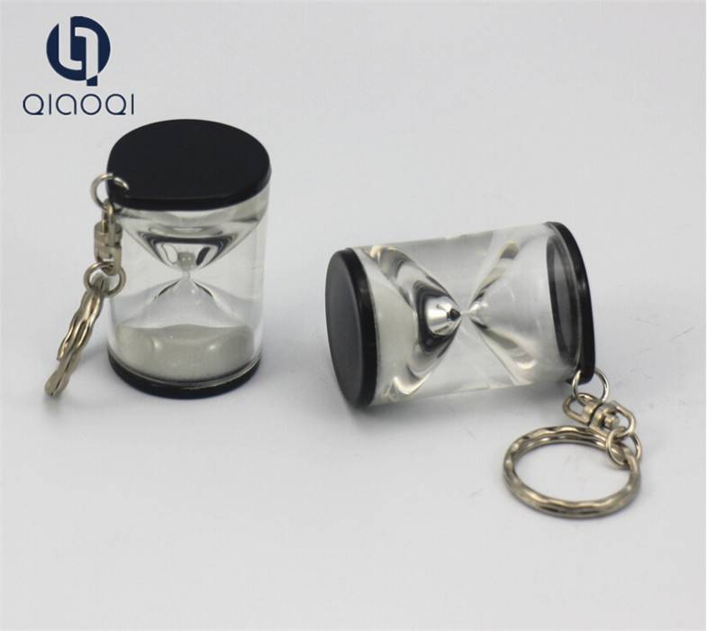 Mini 30 sek Black Acrylic Sand Clock Keychain for Promotion