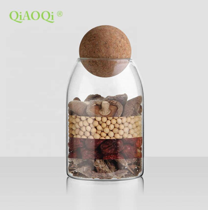 QiAOQi home goods sealed air tight glass jar with cork lid 500ml