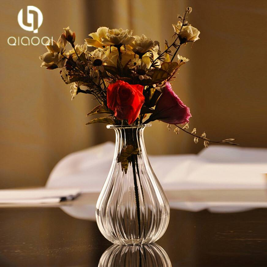 clear glass hydroponic flower implement vase