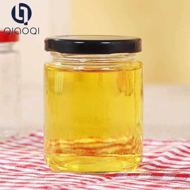 Glass canning jar Honey bottle